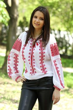 Ie Romaneasca Domnica - Chic Roumaine Folk Costume, Traditional Outfits, Bomber Jacket, Ruffle Blouse, Stitch, Chic, My Style, Shirts, Shopping