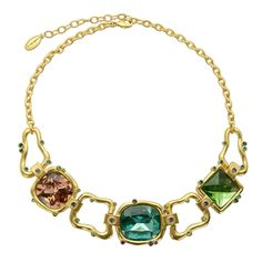 T Tahari Cool Colors Statement Necklace #VonMaur #Turquoise #TurquoiseandGold