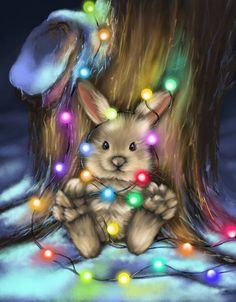 Christmas Bunny, Christmas Scenes, Christmas Animals, Christmas Wood, Christmas Images, Christmas Time, Vintage Christmas, Animated Christmas Pictures, Xmas