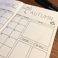 Monthly spread for November. Simple and clean layout for your bullet journal. Bujo idea for monthly spread.