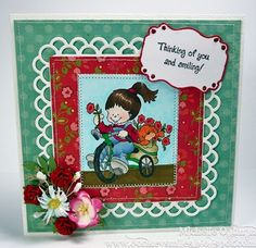 """""""Patty's Posies"""" card by Michele Oatman from Stamps, Paper, Scissors and Donkey Smiles  http://donkeysmiles.blogspot.com/"""