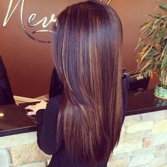 Brown hair dark caramel highlights layers straight