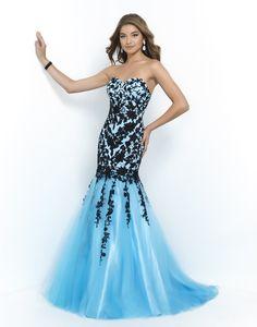 blue lace mermaid prom dress, women fashion appliques evening gown