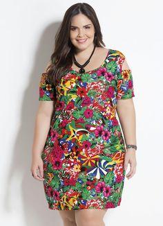 d4f5c1da9b Vestido Tropical Vazado Plus Size Marguerite - Compre em até sem juros na  loja Marguerite