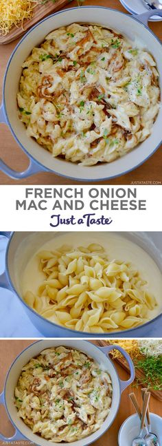 Transform a classic soup into an easy, cheesy entrée with this crowd-friendly recipe for French Onion Mac and Cheese. justataste.com #recipes #food #macandcheese #easydinner #comfortfoodrecipes #justatasterecipes