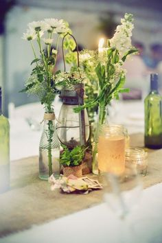 Centerpiece - for the table setting - country/rustic look created with flowers.