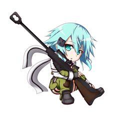 Sword Art Online (GGO), Shinon chibi, by kuena Anime Chibi, Chibi Kawaii, Cute Chibi, Kawaii Anime, Anime Manga, Asuna, Sinon Ggo, Arte Online, Kunst Online