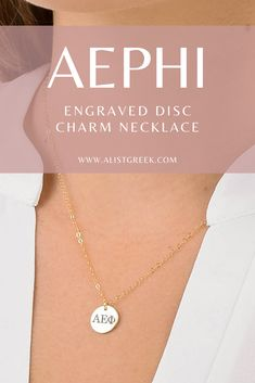 Shop the perfect classic and stylish  engraved AEPHI Greek letter charm necklace. The perfect initiation, graduation or big/little reveal gift from www.alistgreek.com! #discnecklace #charm #sororitynecklace #customgift #personalized #handmade #custom #sororityjewelry #necklace #greekletters #sororityletters #loveyourletters #bidday #graduaton #biglittlereveal #aephi #alphaepsilonphi