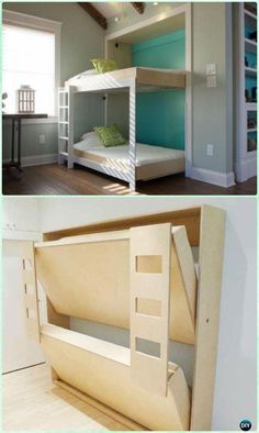 home ideas * DIY Side-Fold Murphy Bunk Bed Instructions - DIY Space Savvy Bed Frame Design Concepts Cama Murphy, Murphy Bunk Beds, Bunk Bed Plans, Murphy Bed Ikea, Murphy Bed Plans, Twin Size Murphy Bed, Bunk Beds Small Room, Bunk Beds With Stairs, Kids Bunk Beds