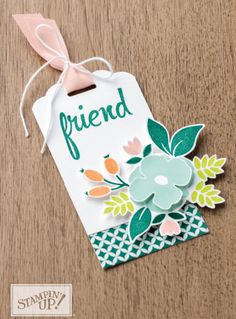 Scalloped tag topper punch - Friend tag stamped with flower from the Lots of Love Stampin' UP! stamp set.