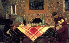 'Family Lunch (also known as The Roussel Family at Table)', - 1899 -  Oil On Canvas by Edouard Vuillard (1868-1940, France)