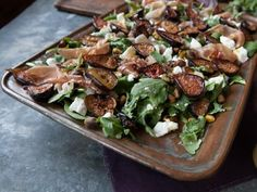 Get Roasted Fig Salad with Goat Cheese, Prosciutto and Arugula Recipe from Cooking Channel