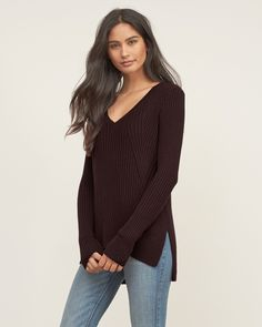 Womens Ribbed V-neck Sweater | A stylish sweater with ribbed pattern detailing, an updated hem with refreshed details, Easy Fit | Abercrombie.com