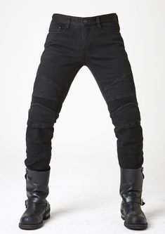 uglyBROS USA Tonup, Quilted panels, Thermo layered, 12 oz Denim, elastic knee & waist-lower back panels, CE approved removable knee & hip protectors