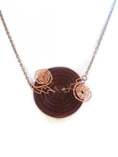 Big Brown Vintage Button Copper Swirls Necklace by spankyluvsvintage2 for $15.00