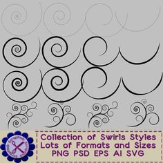 Swirls and Swooshes in Various Styles and Various Formats - $5.00 : ScrapPNG, Digital Craft Graphics