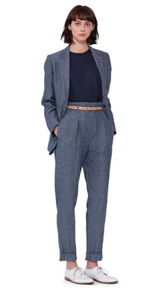 WOMEN SPRING SUMMER 2016 - Blue linen chambray soft blazer, navy linen knitted slipover, blue linen chambray pleated high waist trouser, light buff leather roller narrow belt, white leather brogue