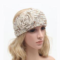 Klasyczna Kobiety Szydełka Turban Headwraps Hairband Zima Ucho Cieplej Dzianiny Kwiat Opaski dla Dziewczyn Młodzieży 1 pc WH267(China (Mainland))