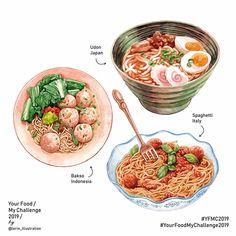 food drawing Noodles and pasta Your Food My Challenge 2019 Food Design, Cute Food, Yummy Food, Food Porn, Creative Food Art, Food Sketch, Food Cartoon, Watercolor Food, Food Painting