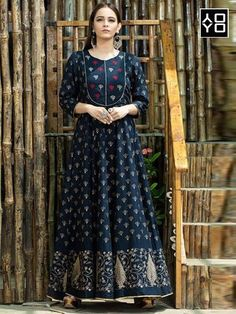 Catalogue name: printed gown fabric detail: maslin cotton 👉🏻size: mtr 👉🏻length: 57 inch 👉🏻sleeve: full sleeve Indian Bridal Wear, Indian Ethnic Wear, Cotton Gowns, Cotton Silk, Printed Gowns, Printed Kurti, Long Sleeve Gown, Anarkali Dress, Gown Dress