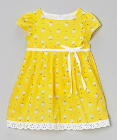 Love this Yellow Floral Pleated Cap-Sleeve Dress - Infant & Toddler by P'tite Môm on #zulily! #zulilyfinds