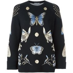 Alexander McQueen 'Obsession' jumper (£1,470) ❤ liked on Polyvore featuring tops, sweaters, black, long sleeve sweater, alexander mcqueen, alexander mcqueen tops, long sleeve tops and round neck sweater