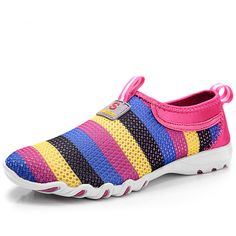 Casual Spring Women Loafers Soft Rainbow Stripes Slip On Flats 2017 Summer Style Canvas Shoes Woman Plus Size 35-40 E059