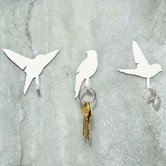 Bird Hooks - Set of metal hooks, in 3 bird silhouette designs - great for hanging keys, dog leads, tea towels or any other household object that you don't want lying around your home. Bird Silhouette, Silhouette Design, Wall Hanger, Wall Hooks, Key Hooks, Do It Yourself Home, Home Interior, Interior Design, My Dream Home