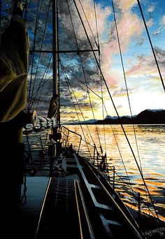 """SUNSET FROM SAILBOAT"" By Socrates Rizquez - Enamels on melamine. www.socrates-art.es"