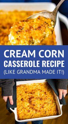 Casserole Recipe -- This cream corn casserole recipe is SO good you'll want., Corn Casserole Recipe -- This cream corn casserole recipe is SO good you'll want., Corn Casserole Recipe -- This cream corn casserole recipe is SO good you'll want. Baked Creamed Corn Casserole, Sweet Corn Casserole, Cream Corn Casserole, Easy Casserole Recipes, Corn Pudding Casserole, Cornbread Casserole, Cornbread Souffle Recipe, Corn Souffle Jiffy, Crockpot Corn Casserole