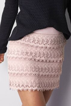 Pretty Lilac AEO Lace Tiered Mini Skirt