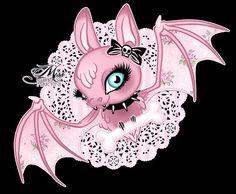 Adorable kawaii bat Miss Cherry Martini Art Gallery Arte Horror, Horror Art, Vampire Illustration, Gothic Fantasy Art, Tattoo Hals, Cute Bat, Goth Art, Lowbrow Art, Creepy Cute