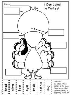 Writer& Workshop Seasonal Labeling Activity--Label a Turkey Free Thanksgiving Printables, Thanksgiving Preschool, Thanksgiving Games, November Thanksgiving, Thanksgiving Holiday, Christmas Holidays, Free Printables, Classroom Fun, Classroom Activities