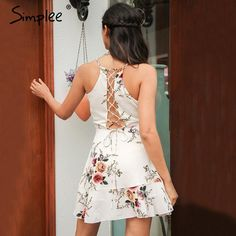 Simplee A-line ruffles floral print summer dress women Deep v neck backless  bandage sexy dress Casual party short dress 33bc35a8ebab
