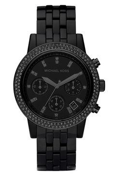 Michael Kors Black on Black Watch.... www.thegoodbags.com MICHAEL Michael Kors Handbag, Jet Set Travel Large Messenger Bag - Shop All -$67