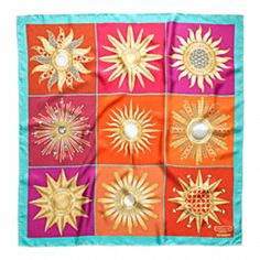 Tony Duquette Collaboration with Coach-Flame Patchwork Silk Scarf