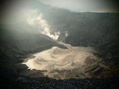 The beautiful Ratu Crater, Tangkuban Perahu, Bandung Indonesia