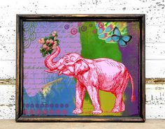 Pink Elephant Art Print - Colorful Mixed Media - Collage - Wall Art - Poster by BrookeMontesArt on Etsy https://www.etsy.com/listing/118636991/pink-elephant-art-print-colorful-mixed