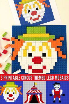 2D Lego Mosaics: 3 Printable Circus Designs
