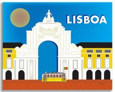 Loose Petals Lisboa Portugal skyline colorful art print suit modern interiors. These Lisbon souvenirs and travel print gifts are for gift buyers and designers.