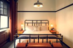 Guest room at the Chicago Athletic Association Hotel by Roman and Williams