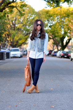 light chambray, vest, navy pants, tan booties.
