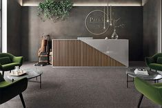A super refined Commercial Grade Terrazzo look tile. Dark Grey Matt View in store and online. Law Office Design, Law Office Decor, Office Table Design, Reception Desk Design, Medical Office Design, Office Interior Design, Office Interiors, Spa Interior, Lobby Interior