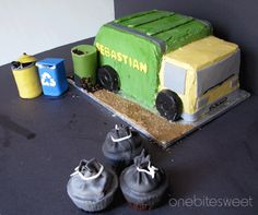 Garbage Truck Cake with Trash bag cupcakes.