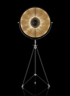 Black and Gold Fortuny ® tripod floor lamp by Venetia Studium