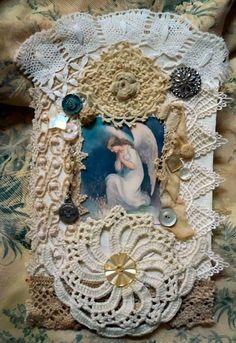 Shabby Chic Angel Lace Collage OOAK 5 inches by 7 by OldElements, $20.00