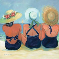 artwork of three sisters Art Plage, Watercolor Paintings, Original Paintings, Beach Paintings, Beach Watercolor, Painting People, Three Sisters, Arte Pop, Beach Art