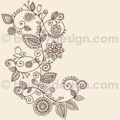 Mehndi Henna Tattoo Paisley Doodles