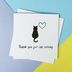 Cat thank you card Cat sitting card Handmade thanks card   Etsy Cat Lover Gifts, Cat Gifts, Pet Lovers, Handmade Thank You Cards, Greeting Cards Handmade, Cat Sitter, Thanks Card, Sell On Etsy, Thankful