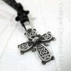 Square Knot Celtic Cross Necklace Adjustable Fine Pewter #celtic #celticknot #celticcross #celticnecklace #celticjewelry #celtiquecreations